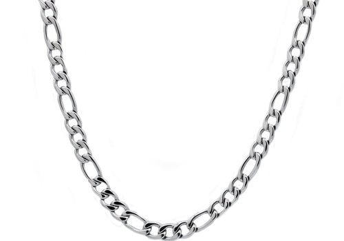 Mens Stainless Steel Figaro Link Chain Necklace - Blackjack Jewelry