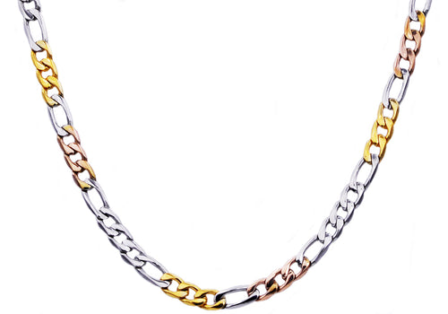 Mens Tri color Yellow Gold And Rose Gold Plated Stainless Steel Figaro Link Chain Necklace - Blackjack Jewelry