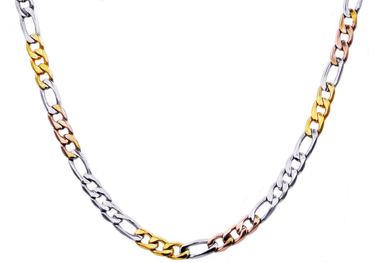 Mens Gold And Rose Plated Stainless Steel Figaro Link Chain Necklace