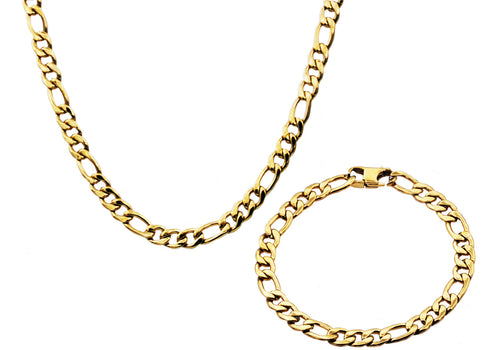 Mens Gold Stainless Steel Figaro Link Chain Set - Blackjack Jewelry
