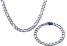 Load image into Gallery viewer, Mens  Stainless Steel  And Blue Figaro Link Chain Set - Blackjack Jewelry