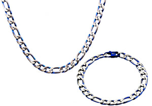 Mens  Stainless Steel  And Blue Figaro Link Chain Set - Blackjack Jewelry
