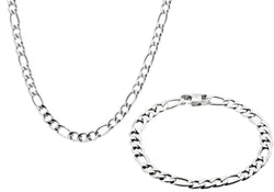 Mens Stainless Steel Figaro Link Chain Set - Blackjack Jewelry