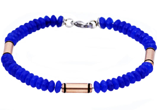 Mens Genuine Blue Onyx Rose Plated Stainless Steel Disk Link Chain Bracelet