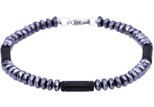 Mens Genuine Hematite Black Plated Stainless Steel Disk Link Chain Bracelet