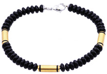 Load image into Gallery viewer, Mens Genuine Onyx Gold Plated Stainless Steel Disk Link Chain Bracelet - Blackjack Jewelry