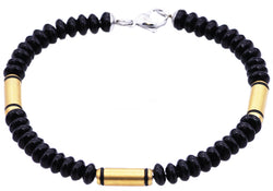 Mens Genuine Onyx Gold Plated Stainless Steel Disk Link Chain Bracelet - Blackjack Jewelry