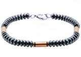 Mens Gunmetal And Rose Plated Stainless Steel Disk Link Chain Bracelet