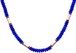 Mens Genunine Blue Onyx Rose Plated Stainless Steel Disk Link Chain Necklace