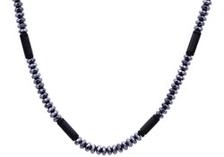 Mens Genunine Hematite Black Plated Stainless Steel Disk Link Chain Necklace