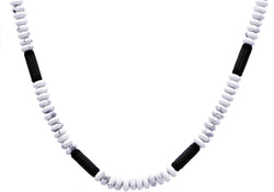 Mens Genunine Howlite Black Plated Stainless Steel Disk Link Chain Necklace