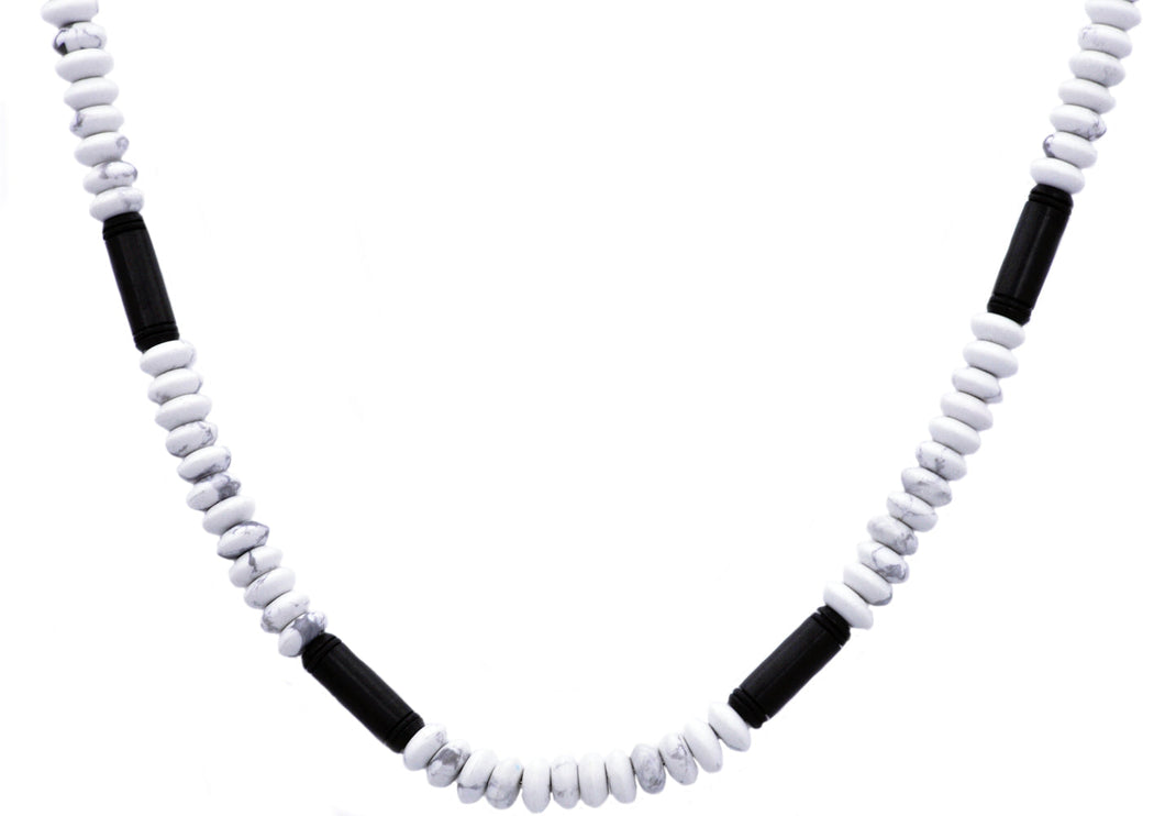 Mens Genunine Howlite Black Plated Stainless Steel Disk Link Chain Necklace - Blackjack Jewelry