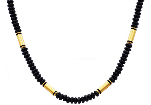 Mens Genunine Onyx Gold Plated Stainless Steel Disk Link Chain Necklace