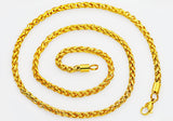 Mens Gold Plated Stainless Steel Wheat Link Chain Necklace