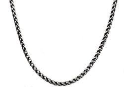 Mens Stainless Steel Wheat Link Chain Necklace