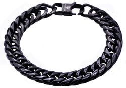 Mens Black Plated Stainless Steel Double Cuban Link Chain Bracelet - Blackjack Jewelry