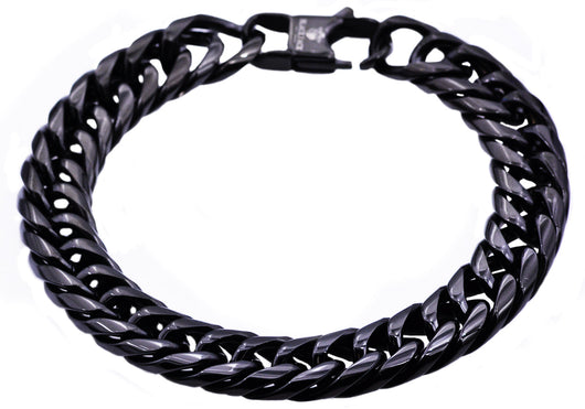 Mens Black Plated Stainless Steel Double Cuban Link Chain Bracelet