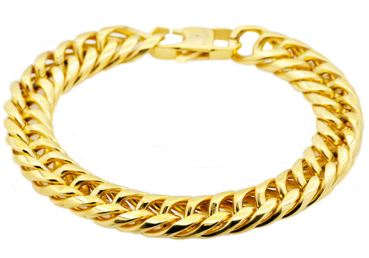 Mens Gold Plated Stainless Steel Curb Link Chain Bracelet