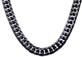 Mens Black Plated Stainless Steel Double Cuban Link Chain Necklace
