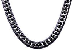 Mens Black Plated Stainless Steel Double Cuban Link Chain Necklace - Blackjack Jewelry