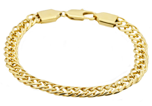 Mens Gold Stainless Steel Double Link Chain Bracelet - Blackjack Jewelry