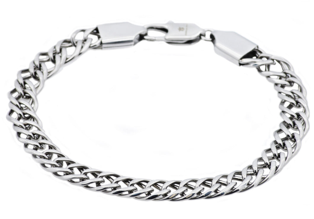 Mens Stainless Steel Double Link Chain Bracelet - Blackjack Jewelry