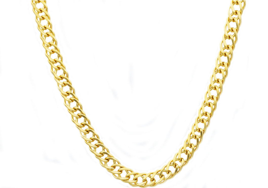 Mens Gold Plated Stainless Steel Double Link Chain Necklace - Blackjack Jewelry