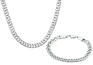 Mens Stainless Steel Double Link Chain Set - Blackjack Jewelry