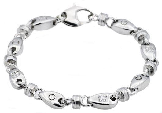 Mens Stainless Steel Chain Link Bracelet With Cubic Zirconia
