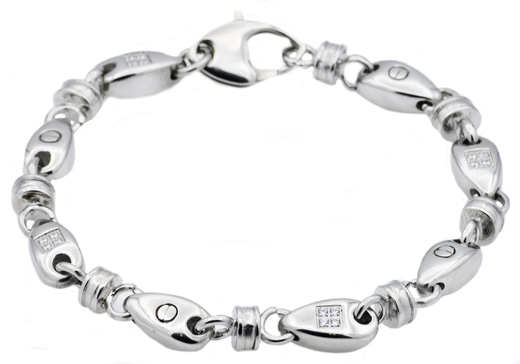 Mens Stainless Steel Chain Link Bracelet With Cubic Zirconia - Blackjack Jewelry