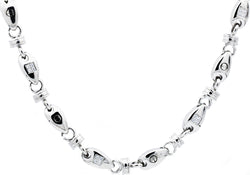 Mens Stainless Steel Chain Link Necklace With Cubic Zirconia