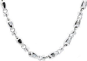 Mens Stainless Steel Chain Link Necklace With Cubic Zirconia - Blackjack Jewelry