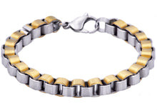 Load image into Gallery viewer, Mens Gold Stainless Steel Box Link Chain Bracelet - Blackjack Jewelry