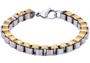 Mens Gold Stainless Steel Box Link Chain Bracelet - Blackjack Jewelry