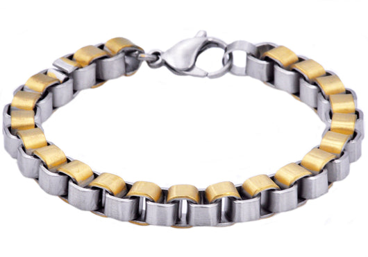 Mens Gold Plated Stainless Steel Box Link Chain Bracelet