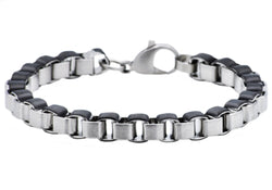 Mens Black Plated Stainless Steel Box Link Chain Bracelet