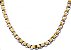 Mens Gold Plated Stainless Steel Box Link Chain Necklace
