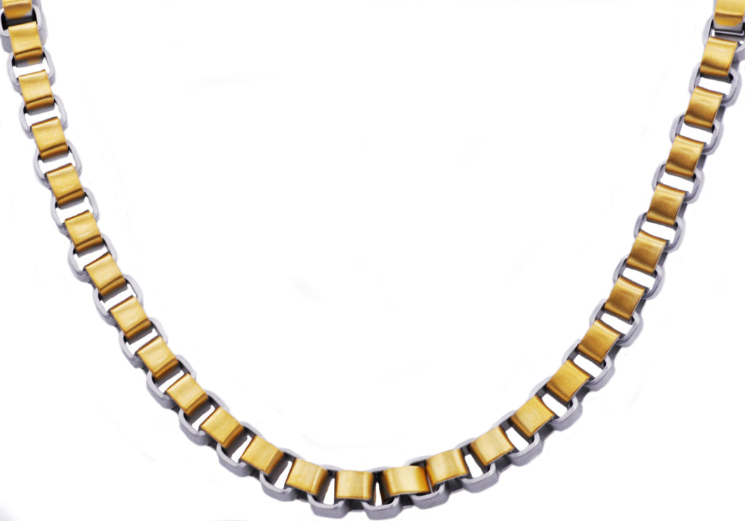 Mens Gold Stainless Steel  Two Tone Box Link Chain Necklace - Blackjack Jewelry