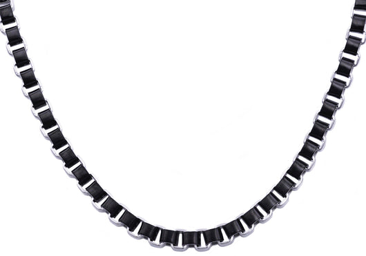 Mens Black Plated Stainless Steel Box Link Chain Necklace