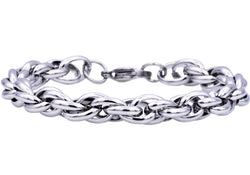 Mens Stainless Steel Rope Link Chain Bracelet