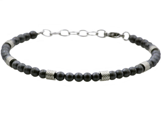 Mens Genuine matt Hematite Stainless Steel Beaded Bracelet - Blackjack Jewelry
