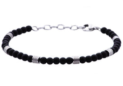 Mens Genuine Onyx Stainless Steel Beaded Bracelet - Blackjack Jewelry