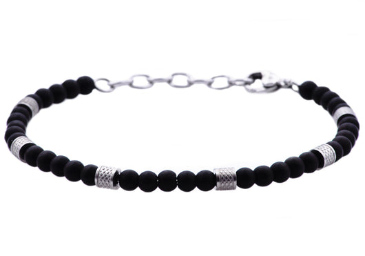 Mens Genuine Onyx Stainless Steel Beaded Bracelet