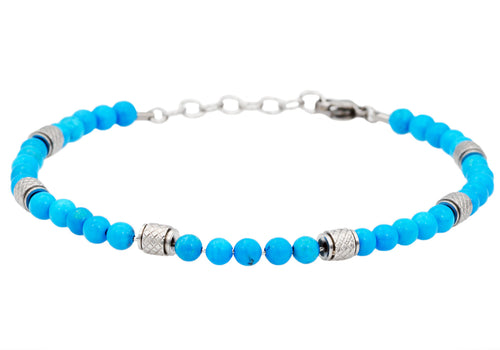 Mens Genuine Turquoise Stainless Steel Beaded Bracelet - Blackjack Jewelry