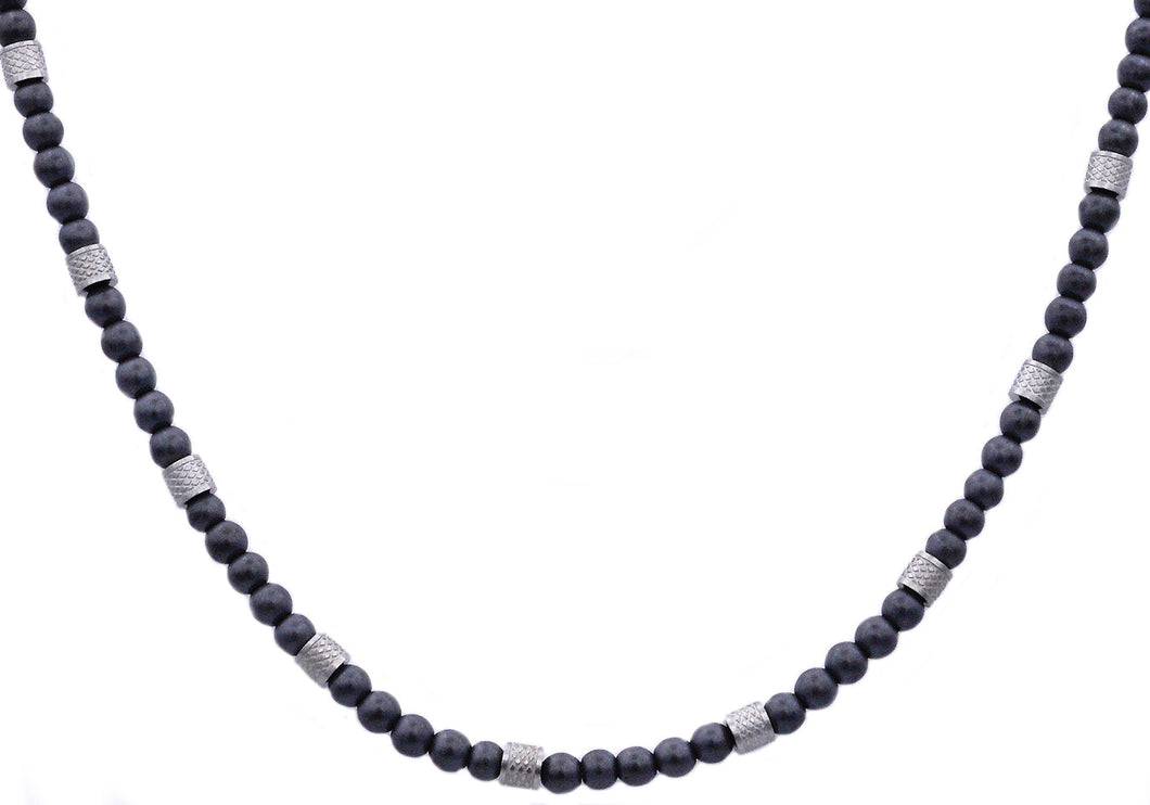 Mens Genuine Hematite Stainless Steel Beaded Necklace - Blackjack Jewelry