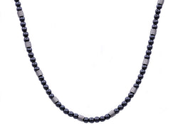 Mens Genuine Hematite Stainless Steel Beaded Necklace