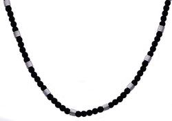 Mens Genuine Onyx Stainless Steel Beaded Necklace