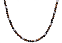 Mens Genuine Tiger Eye Stainless Steel Beaded Necklace