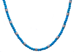 Mens Genuine Turqoise Stainless Steel Beaded Necklace