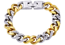 Mens Gold Plated Stainless Steel Curb Link Chain Bracelet With Cubic Zirconia